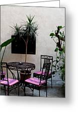 Pink And Purple Patio Greeting Card
