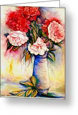 Pink And Red Peony Roses In A Tall Blue Porcelain Vase Greeting Card