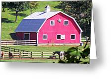 Pink Barn In The Summer Greeting Card