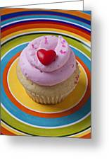 Pink Cupcake With Red Heart Greeting Card