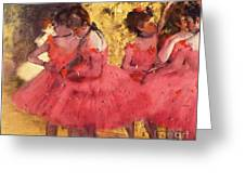 Pink Dancers Before Ballet Greeting Card by Pg Reproductions