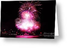 Pink Fireworks At Nyc Greeting Card by Archana Doddi