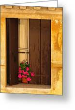 Pink Geraniums Brown Shutters And Yellow Window In Italy Greeting Card