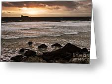 Pink Granite Coast At Sunset Greeting Card