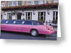 Pink Limo Outside A Pub Greeting Card