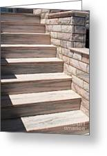 Pink Marble Staircase In Patmos Greece Greeting Card