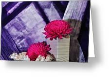 Pink Mums On Purple Greeting Card