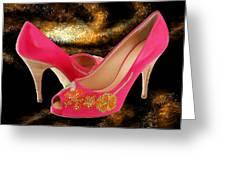 Pink Peeptoe Pumps With Swarovski Crystals Greeting Card