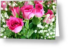 Pink Roses And Gypsophila Bouquet Greeting Card