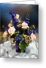 Pink Roses And Purple Delphinium Greeting Card