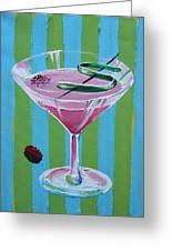 Pink Stripe Martini Greeting Card