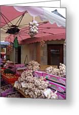 Pink Umbrella And Garlic Greeting Card