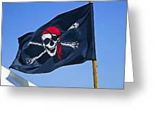 Pirate Flag Skull With Red Scarf Greeting Card