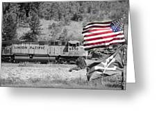 Pirates And Trains Black And White Greeting Card