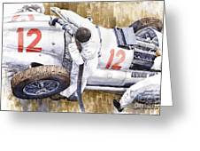 Pit Stop German Gp 1939 Mercedes Benz W154 Rudolf Caracciola Greeting Card
