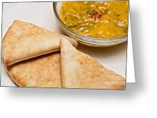 Pita Bread With Brocoli Cheese Dip Greeting Card