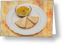 Pita With Brocoli Dip Greeting Card