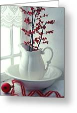 Pitcher With Red Berries  Greeting Card