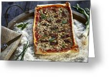 Pizza With Herbs Greeting Card