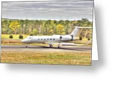 Plane Landing Air Brakes Blur Background Greeting Card