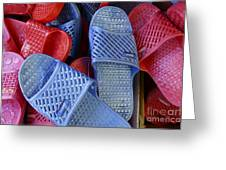 Plastic Slippers Chinatown Vancouver Greeting Card