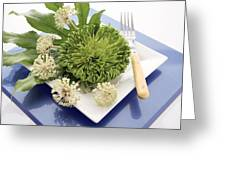 Plate Decorated With Flowers Greeting Card