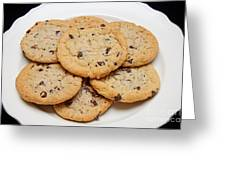 Plate Of Chocolate Chip Cookies Greeting Card
