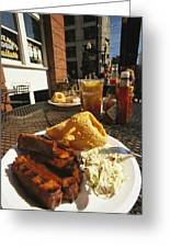 Plate Of Ribs And Rings At Famous Sonny Greeting Card