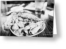 Plate Of Spicy Crab Seafood At A Table In An Outdoor Cafe At Night Kowloon Hong Kong Hksar China Greeting Card