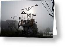 Platforms And Tanks At Petrocor In The Fog Greeting Card