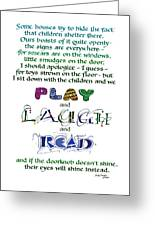 Play Laugh Read Greeting Card by Judy Dodds