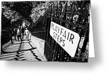 Playfair Steps Down Into Princes Street Gardens Edinburgh Scotland Uk United Kingdom Greeting Card by Joe Fox