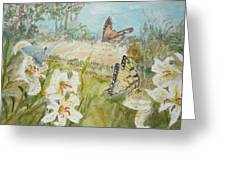 Playing In The Garden Greeting Card by Dorothy Herron