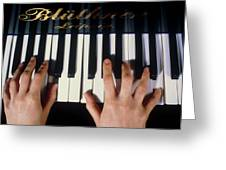 Playing The Piano. Greeting Card by Damien Lovegrove