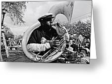 Playing To The Crowd - Bw Greeting Card
