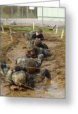 Plebes Low Crawl Under Barbwire As Part Greeting Card