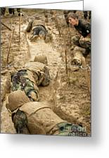 Plebes Navigate The Low Crawl Obstacle Greeting Card
