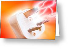 Plug With Electric Current Greeting Card by Victor Habbick Visions