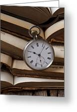 Pocket Watch On Pile Of Books Greeting Card