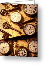 Pocket Watches And Old Keys Greeting Card