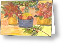Poinsettias Holly And Table Fruit Greeting Card
