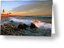 Point Judith Lighthouse Seascape Greeting Card