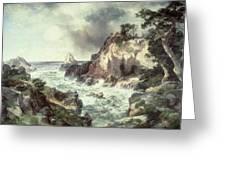 Point Lobos At Monterey In California Greeting Card by Thomas Moran