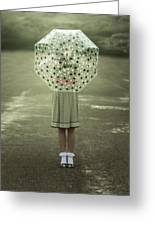 Polka Dotted Umbrella Greeting Card
