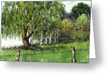 Pond By Delomino Farm Greeting Card