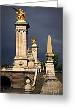 Pont Alexander IIi In Paris Before Storm Greeting Card by Elena Elisseeva