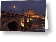 Ponte And Castel Sant' Angelo At Night Greeting Card