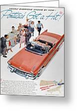 Pontiac Advertisement 1957 Greeting Card