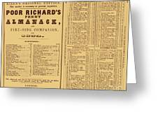 Poor Richards Penny Almanack, 1852 Greeting Card