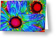 Pop Art Daisies 2 Greeting Card